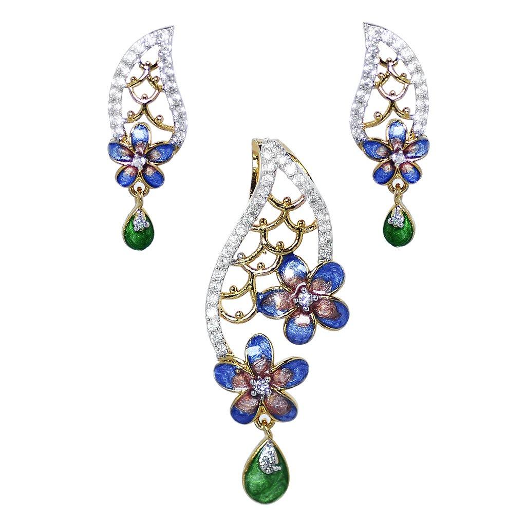 Flower Designer Earring, Pendant set