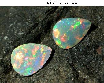 Certified Natural Ethiopian Opal AAA Quality  8x10  mm Faceted Pear Pair loose gemstone