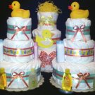 Striped Duck thee Tier Diaper Cake for boy girl and unisex