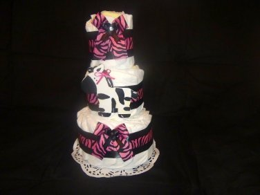 Precious Baby Pink Zebra Diaper Cake by Little KG's Dreams