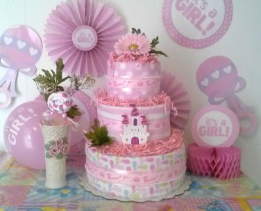 Three Tier Pink Princess Diaper Cake with a Lovely Lollipop for Princess By Little Kg's Dreams
