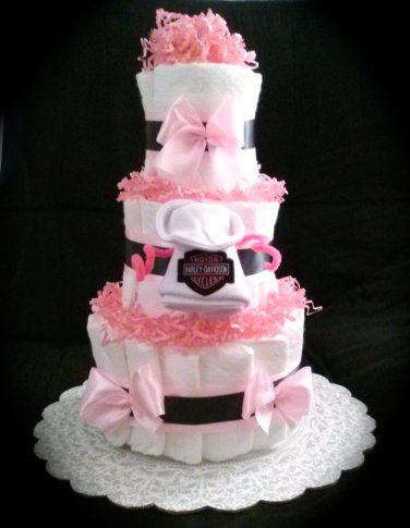 Pink Harley Davidson Three Tier Diaper Cake Baby Shower By Little Kg's Dreams