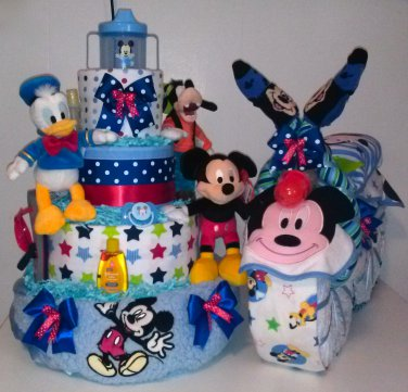 Disney Mickey Mouse Diaper Cake and Disney Motorcycle gift Centerpiece by Little Kgs Dreams