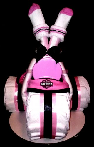 Pink Harley Davidson Diaper Cake Tricycle Baby Shower Centerpiece By Little Kg's Dreams