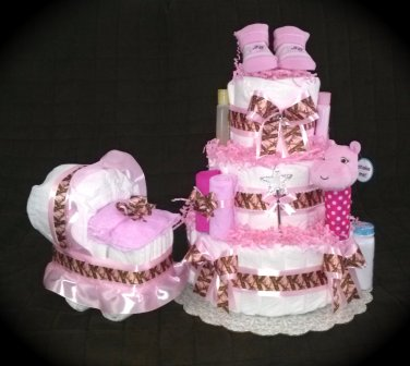 Three tier Mossy Oak Camouflage Pink Diaper Cake for baby shower girl
