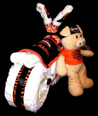 Boy Harley Davidson Diaper Cake Stroller motorcycle Baby Shower Centerpiece By Little Kg's Dreams