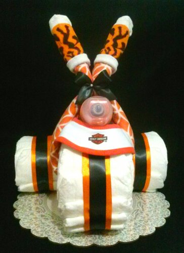 Boy Harley Davidson Diaper Cake Motorcycle for Baby Shower Centerpiece or Gift By Little Kg's Dreams