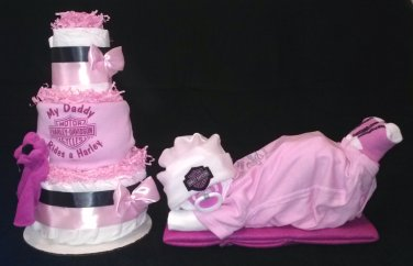 Pink Harley Davidson Baby Shower Set Diaper Cake Centerpiece By Little Kg's Dreams