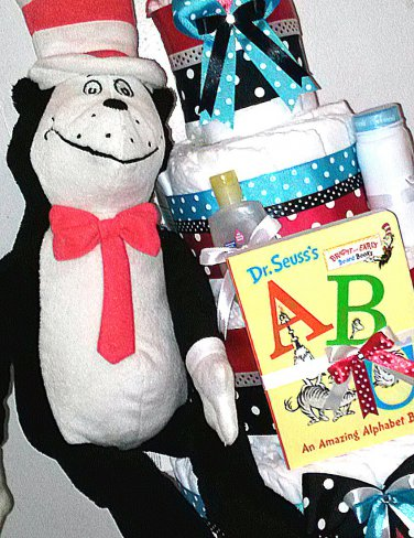 Dr Seuss Red and Black Cat in the Hat Four Tier Diaper Cake Baby Shower Centerpiece