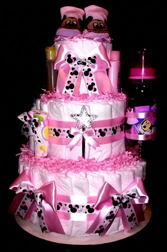 Minnie Mouse Diaper Cake Pink Baby Shower Centerpiece or Gift By Little Kg Dreams