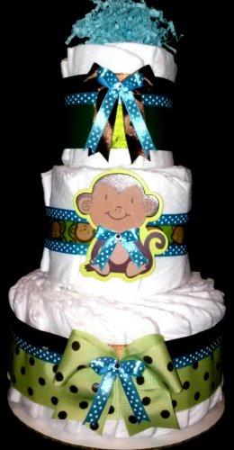 Baby monkey Diaper Cake Blue Green by Little KG's Dreams