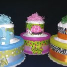 Elephant, Turtle, Tiger Diaper Cake Baby Shower Centerpiece or Gift By Little Kg Dreams