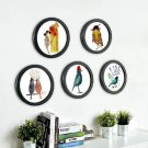 Round Photo Frame with Birds Print