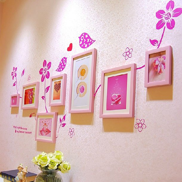 Nutral Wooden Color Photo Frame with Wall Sticker