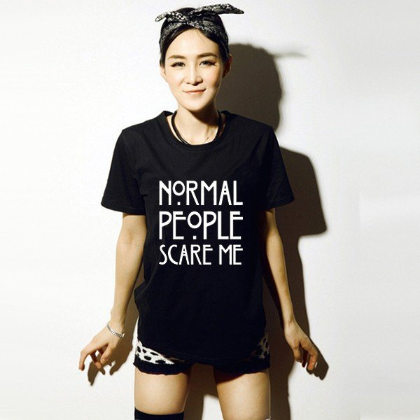 Camiseta Normal People Scare Me T-Shirt WH332 Kawaii Clothing