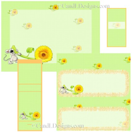 Mouse and Sunflower Candy Wrapper/Party Favors Set [dl039]