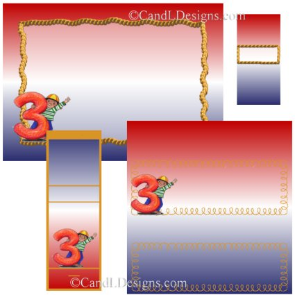 Boy 3rd Birthday Candy Wrapper/Party Favors Set [dl040]