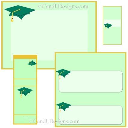Green Cap Graduation Candy Wrapper/Party Favors Set [dl021]
