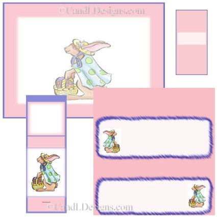 Pink Bunny Candy Wrapper/Party Favors Set [dl028]