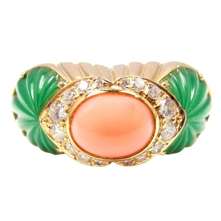 Cartier Chalcedony Pink Coral Diamond 18K YG Ring Size 52 Rare