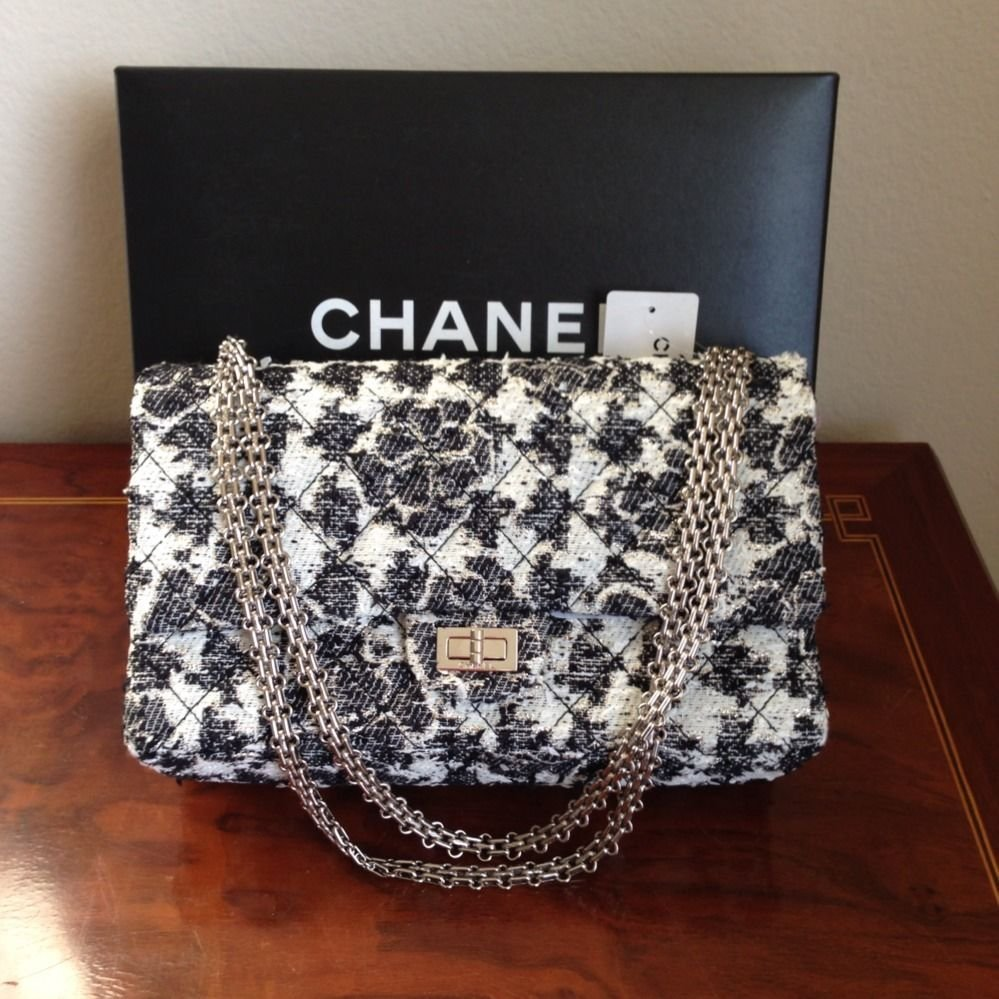 100% Authentic CHANEL Classic 2.55 Black White Camelia Tweed Flap Bag NWT