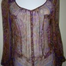 Gorgeous BLUMARINE Chiffon Print Jeweled Blouse 44