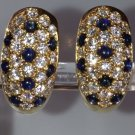Cartier Diamond & Sapphire 18k Mimi Collection Hoop Earrings Rare