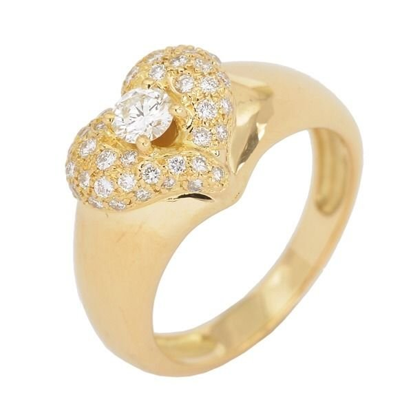 Van Cleef & Arpels 18K Yellow Gold Pave Diamond Heart Ring Size 49 Rare