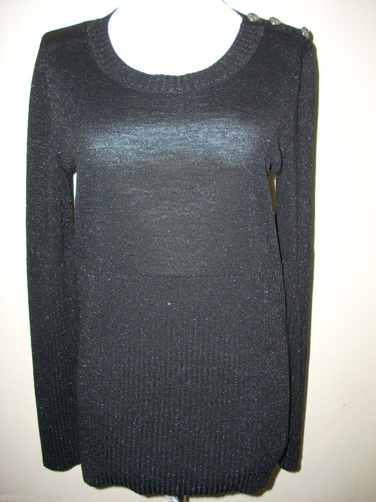 Authentic CHANEL Black Silver Pull Over Sweater 42