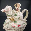 Lenox Coffee Tea Pot Santa Holiday Toy Shop Rocking Horse Elf NWT Decoration