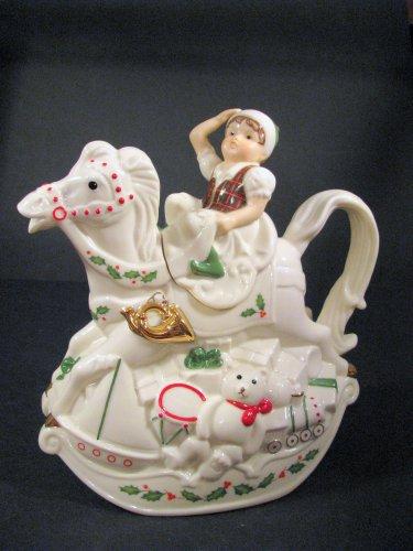 Lenox Coffee Tea Pot Santa Holiday Toy Shop Rocking Horse Elf NWT Decoration