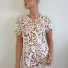 White Lace Top Crochet Blouse Ivory wedding SMALL