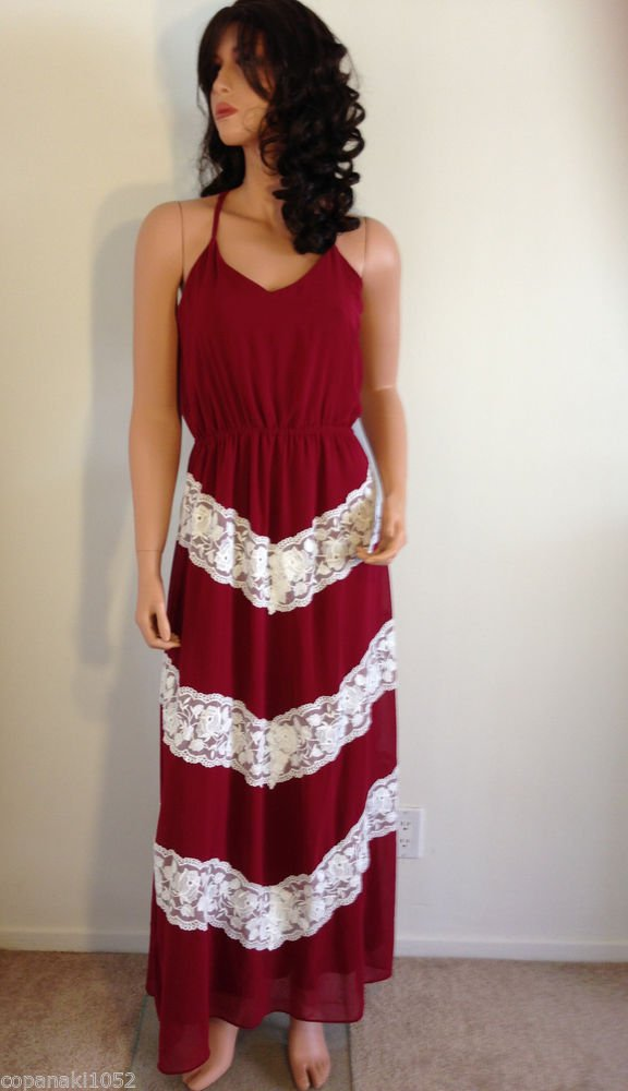 Burgundy White maxi DRESS lace hippie boho long party gypsy embroidered SMALL