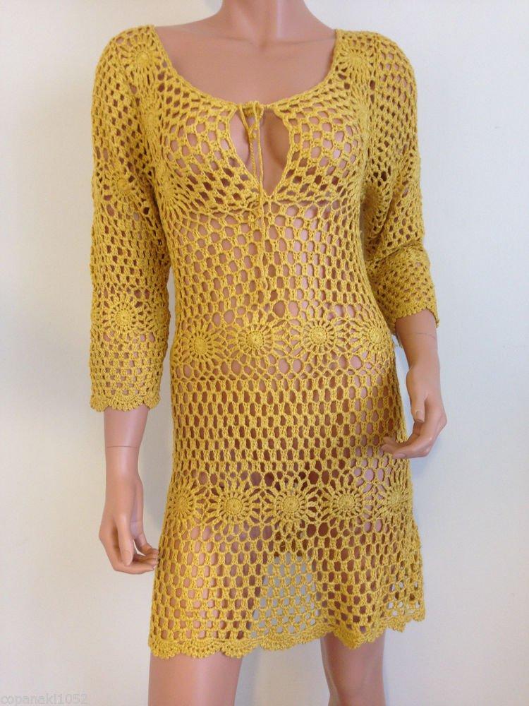 Mustard yellow CROCHET BOHO DRESS knit long sleeve hippie bohemian SMALL MEDIUM