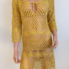 Mustard yellow CROCHET BOHO DRESS knit long sleeve hippie bohemian SMALL MEDIUM