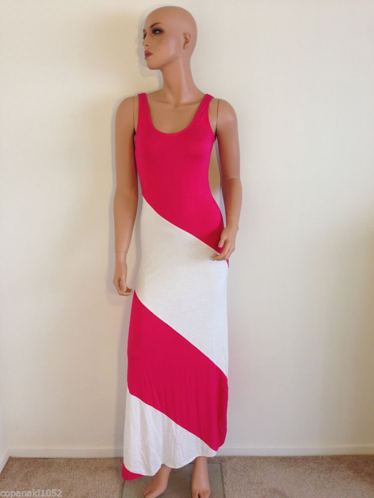 Pink Maxi dress striped colorblock color block long white sexy hippie SMALL