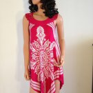 Pink White Crochet Beach dress paisley boho hippie bohemian sundress SMALL