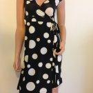 Polka Dot Wrap Dress Black Cream White retro mod SMALL