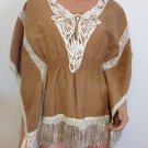 1970s VINTAGE Fringe tassel suede like Crochet Lace Poncho SMALL