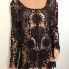 Black Crochet Lace Tunic Top Blouse hippie Boho SMALL