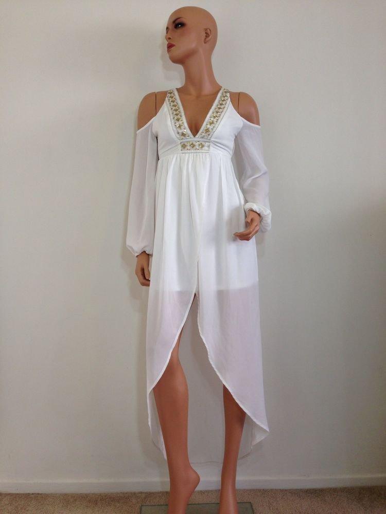 White Maxi Mini Dress Wedding beaded 70s Inspired XS EXTRA SMALL