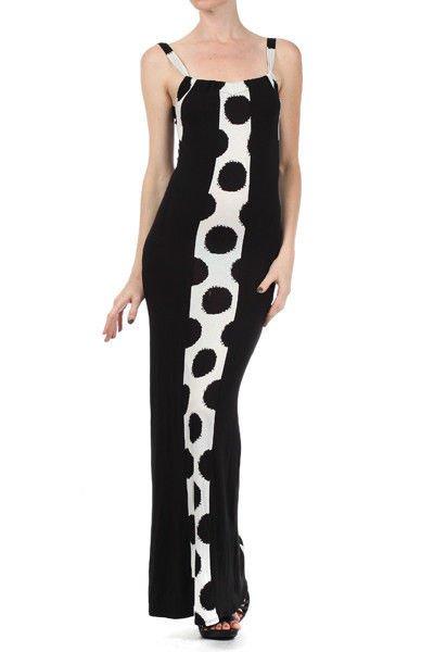 White Black polka dot maxi dress Striped long retro SMALL MEDIUM