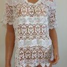 White Crochet Lace Blouse Shirt free spirit Top hippie people Bohemian MEDIUM