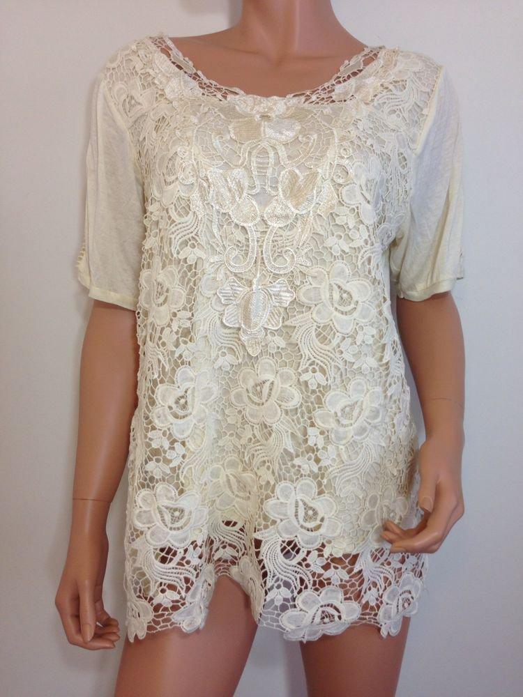 Ivory Cream crochet top blouse tunic hippie bohemian LARGE