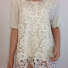 Ivory Cream crochet top blouse tunic hippie bohemian LARGE