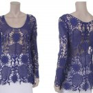 Blue Crochet Lace Tunic Top Blouse hippie Boho MEDIUM