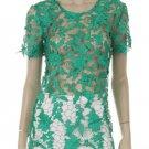Battenburg Lace Crochet Blouse Top green SMALL