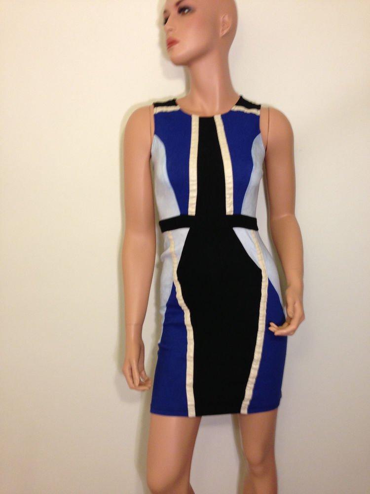 Blue white black Sheath Shift Bodycon Bandage Dress SMALL XS