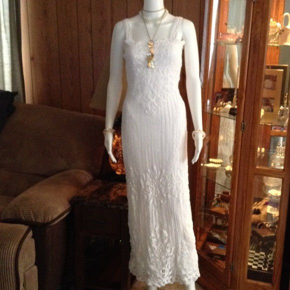 White Crochet Lace Dress maxi long beaded gatsby flapper scallop 20s XS SMALL