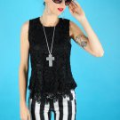 Black Crochet lace Peplum Top blouse goth vtg grunge SMALL MEDIUM